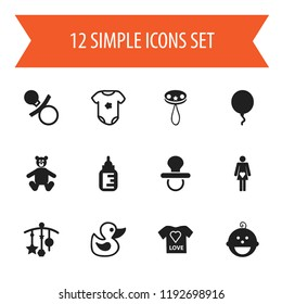 Set of 12 editable kid icons. Includes symbols such as decoration, t-shirt, son and more. Can be used for web, mobile, UI and infographic design.