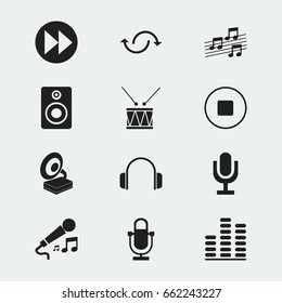 Set Of 12 Editable Melody Icons. Includes Symbols Such As Earphone, Ahead, Musical Sign And More. Can Be Used For Web, Mobile, UI And Infographic Design.