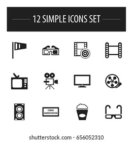 Set Of 12 Editable Movie Icons. Includes Symbols Such As 3D Glasses, Retro Tv, Tape And More. Can Be Used For Web, Mobile, UI And Infographic Design.