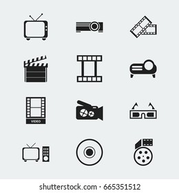 Set Of 12 Editable Movie Icons. Includes Symbols Such As Presentation, Filmstrip, Clapper And More. Can Be Used For Web, Mobile, UI And Infographic Design.