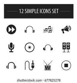 Set Of 12 Editable Mp3 Icons. Includes Symbols Such As Musical Sign, Break Music, Music Speaker And More. Can Be Used For Web, Mobile, UI And Infographic Design.