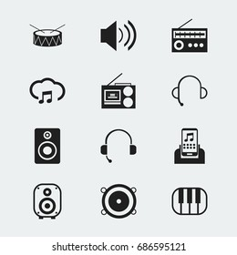 Set Of 12 Editable Mp3 Icons. Includes Symbols Such As Speaker, Studio Device, Retro Tuner And More. Can Be Used For Web, Mobile, UI And Infographic Design.