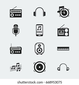 Set Of 12 Editable Music Icons. Includes Symbols Such As Retro Tuner, Earpiece, Bass Speakers And More. Can Be Used For Web, Mobile, UI And Infographic Design.