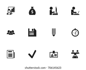 Set Of 12 Editable Office Icons. Includes Symbols Such As Pencil, Money Bag, Presentation And More. Can Be Used For Web, Mobile, UI And Infographic Design.