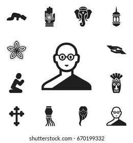 Set Of 12 Editable Religion Icons. Includes Symbols Such As Sajdah, Prayer, Female And More. Can Be Used For Web, Mobile, UI And Infographic Design.