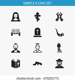 Set Of 12 Editable Religion Icons. Includes Symbols Such As Sajdah, Traditional Lamp, Hebrew And More. Can Be Used For Web, Mobile, UI And Infographic Design.
