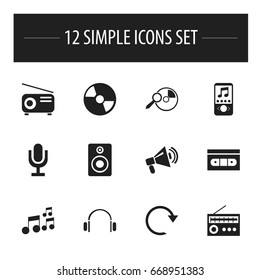 Set Of 12 Editable Sound Icons. Includes Symbols Such As Tape, Tone, Disc And More. Can Be Used For Web, Mobile, UI And Infographic Design.