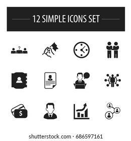 Set Of 12 Editable Trade Icons. Includes Symbols Such As Payment, Talking Man, Candidate. Can Be Used For Web, Mobile, UI And Infographic Design.