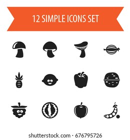 Set Of 12 Editable Vegetable Icons. Includes Symbols Such As Pecan, Plum, Juniper And More. Can Be Used For Web, Mobile, UI And Infographic Design.