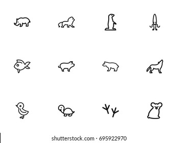 Set Of 12 Editable Zoo Outline Icons. Includes Symbols Such As Wolf, Predator, Gopher And More. Can Be Used For Web, Mobile, UI And Infographic Design.