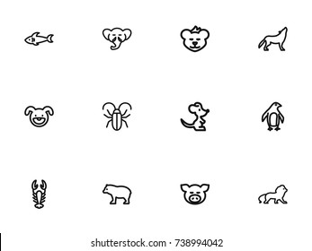 Set Of 12 Editable Zoo Outline Icons. Includes Symbols Such As Cougar, Wildcat, Wolf And More. Can Be Used For Web, Mobile, UI And Infographic Design.