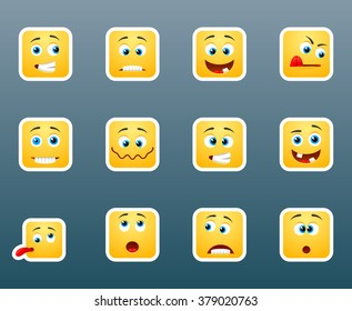 Set of 12 emoticon smile stickers for chat