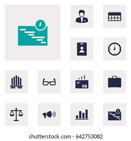 Set Of 12 Enterprise Icons Set.Collection Of Suitcase, Balance, Diagram And Other Elements.