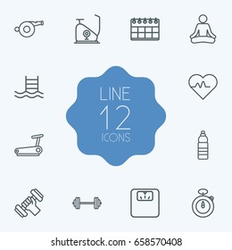 Set Of 12 Fitness Outline Icons Set.Collection Of Calendar, Running Track, Water Bottle And Other Elements.