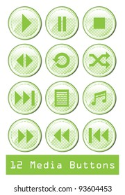 A set of 12 glossy media buttons.