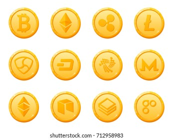 Set of 12 gold coins crypto currency icon. Top digital electronic currency by market capitalization. Bitcoin, Ethereum, Ripple, Litecoin, Dash, NEM, Monero and others. Vector
