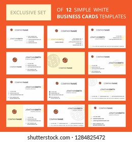 Set of 12 Golfball  Creative Busienss Card Template. Editable Creative logo and Visiting card background