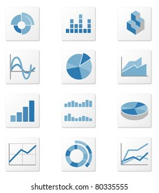 Set of 12 graph icon variations