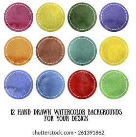 Set of 12 hand drawn watercolor backgrounds for your design. Vector illustration.