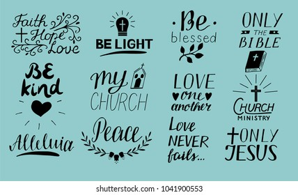 Set Of 12 Hand Lettering Christian Quotes Only Jesus. Love One Another.  Church Ministry