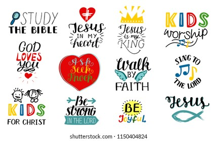 Set of 12 Hand lettering christian quotes Jesus is my king, Study the bible, Walk by faith, Kids ministry, Sing to the Lord, Be joyful, Strong, Worship . Biblical background. Scripture Sunday school.