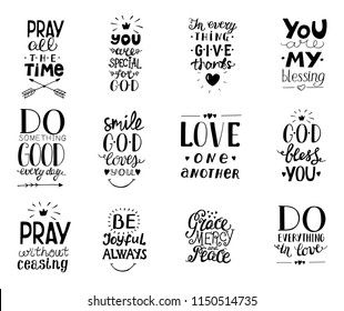 Set of 12 Hand lettering christian quotesYou blessings, Do good every day, Grace, mercy,peace, Love one another, Pray,God bless you, Give thanks. Biblical background. Poster. Calligraphy Card Scriptur