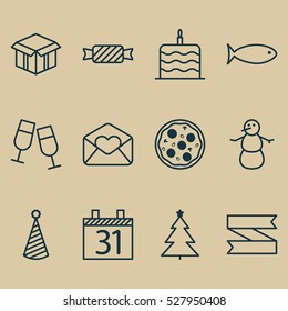 Set Of 12 Happy New Year Icons. Can Be Used For Web, Mobile, UI And Infographic Design. Includes Elements Such As Celebration Cake, Decorated Tree, Greeting Email And More.