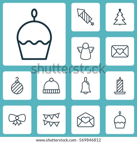 Set 12 Happy New Year Icons Stock Vector (Royalty Free