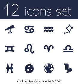Set Of 12 Horoscope Icons Set.Collection Of Scales, Lion, Fishes And Other Elements.