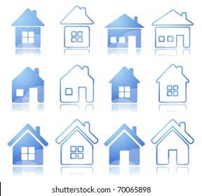 Set of 12 house icon