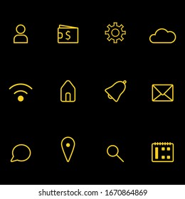 Set of 12 icons for web design. Icons in gold style on black background.