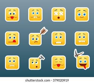 Set of 12 injured smile stickers