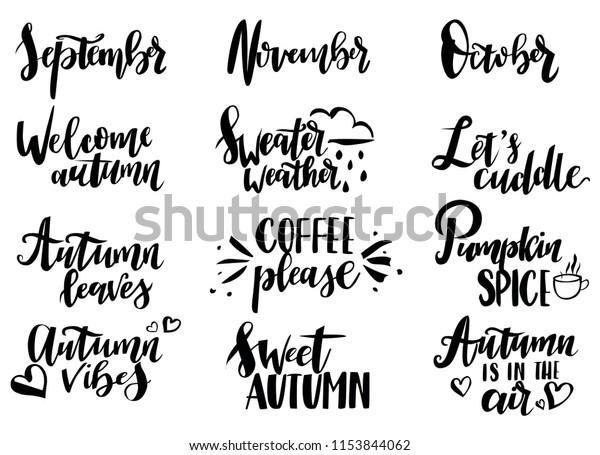 Set 12 Inspirational Cute Fall Calligraphy Stock Vector ...