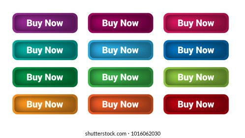 Set of 12 isolated web buttons with rounded corners and text Buy Now, colorful