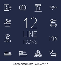 Set Of 12 Land Outline Icons Set.Collection Of Control Tower, Car Rent, Business Class And Other Elements.