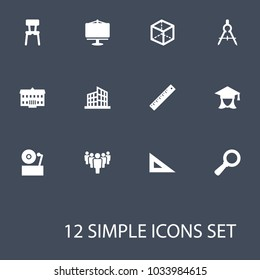 Set of 12 learning icons set. Collection of dividers measurement, group, ruler and other elements.