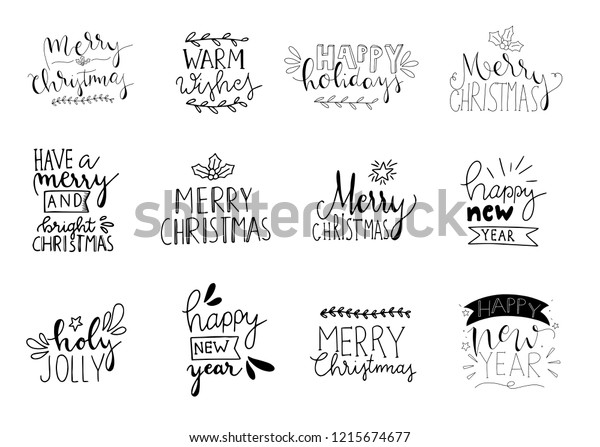 Christmas Card Phrases.Set 12 Merry Christmas Card Posters Stock Vector Royalty