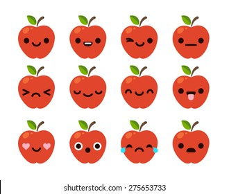 Set of 12 modern flat emoticons: cute cartoon red apple with different emotions.