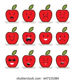 Set of 12 modern flat emoticons: Red apple with leaf, food, fruit, smile, sadness and other emotions. Flat vector illustration isolated of red background.