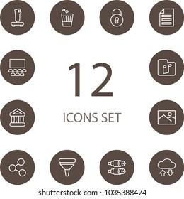 Set of 12 multimedia icons line style set. Collection of music, joystick, cloud storage and other elements.