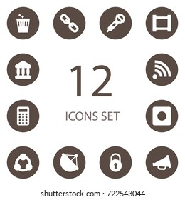 Set Of 12 Multimedia Icons Set.Collection Of Microphone, Trash, Advertising And Other Elements.