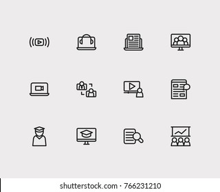 Set of 12 online e-learning icon set line style with call laptop video, online student with teacher and digital blog elements including e learning icon for your web site mobile app logo UI design.