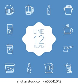 Set Of 12  Outline Icons Set.Collection Of Ice Bucket, Fizzy Water, Cappuccino And Other Elements.