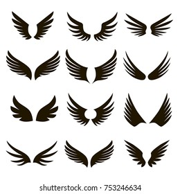 Set of 12 pairs of black vector wings on a white background