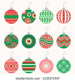Set of 12 patterned vector Christmas ball ornaments with hooks in vintage red and green color scheme