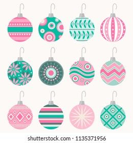 Set of 12 patterned vector Christmas ball ornaments with hooks in vintage pink and blue-green color scheme
