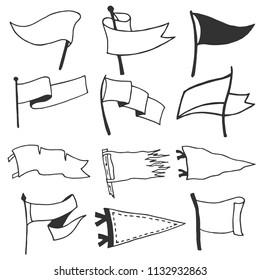 Set of 12 pennants. Retro monochrome labels. Hand drawn wanderlust style. Pennant travel flags design