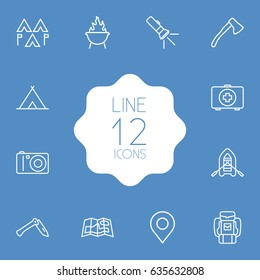 Set Of 12 Picnic Outline Icons Set.Collection Of Encampment, Medical Kit, Rubber Boat And Other Elements.