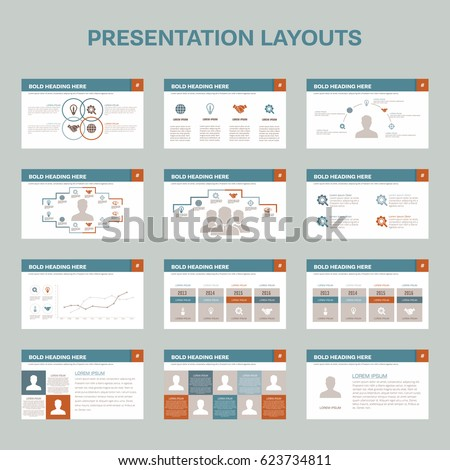 set 12 presentation layouts on white stock vector royalty free