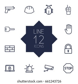 Set Of 12 Procuring Outline Icons Set.Collection Of Firewall, Virus, No Entry And Other Elements.